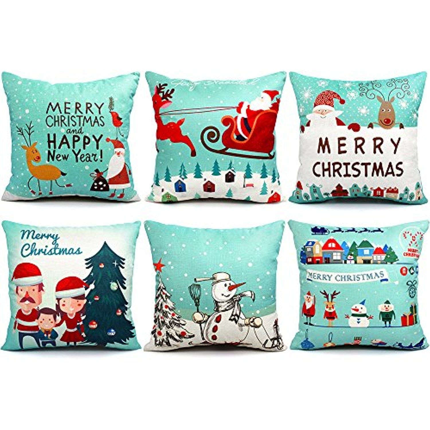 Throw Pillow Cover Colorful Kids Happy Birthday Pattern Party Decorative Pillow Case Home Decor Square 18 x 18 Pillowcase