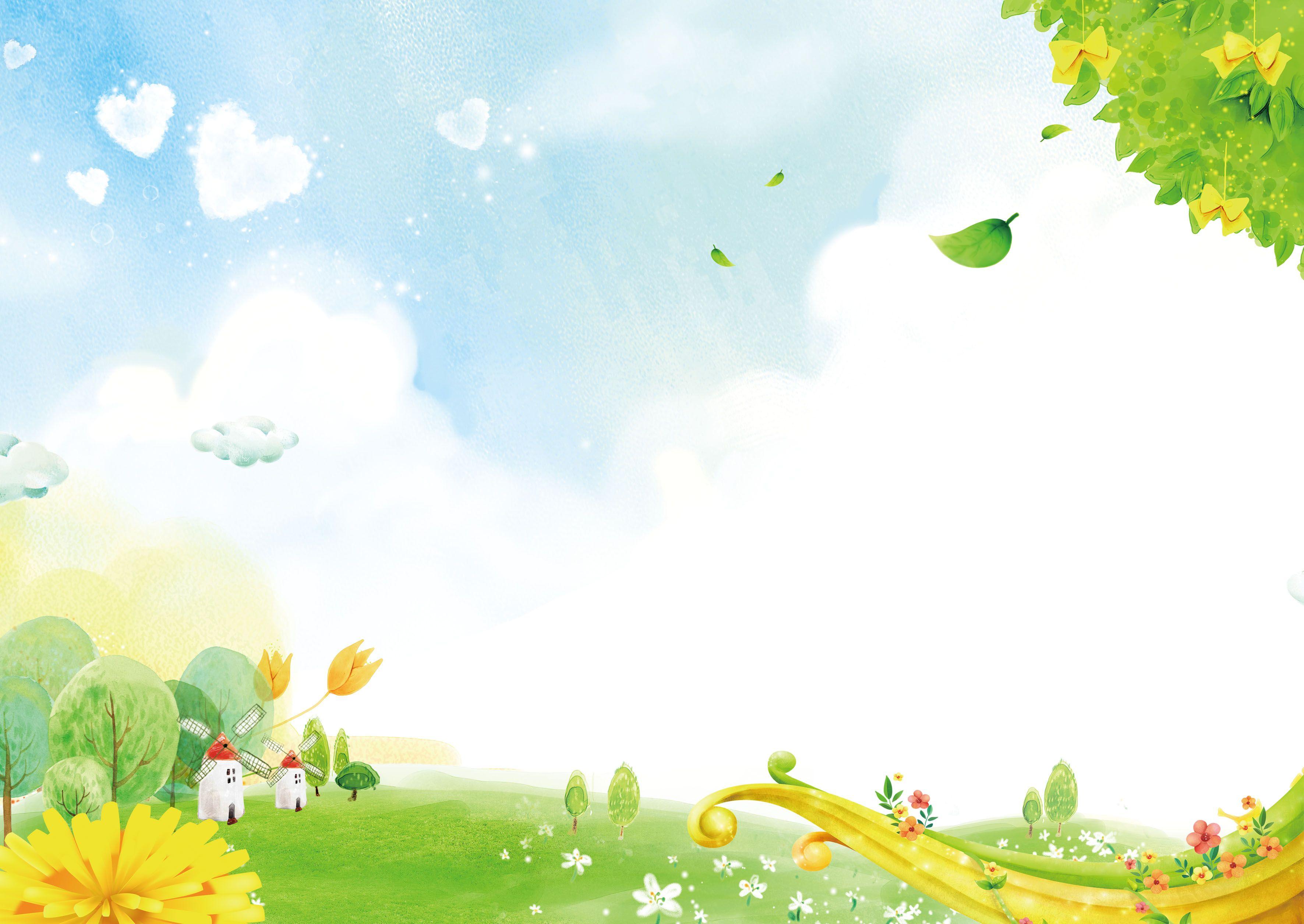 العشب الأخضر الطازج يترك خلفية الكرتون Cartoon