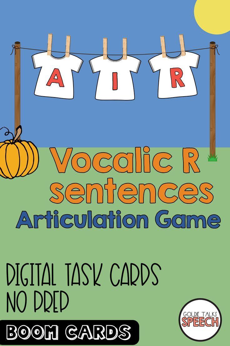 Boom cards vocalic r coarticulation sentence game r