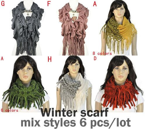 Mix styles 6 pcs/lot winter warm knitting woman hood scarf loop fashion jewelry
