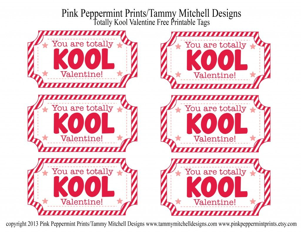 Totally Kool Valentine and free printable valentine card tag – Free Print Valentine Cards