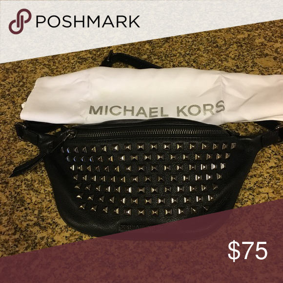 067180e79c70 Michael Kors Rhea Fanny pack Belt Bag EUC Rhea Zip Pyramid Stud Beltbag in  Black Leather Add some chic edge to your look with this fabulous studded  leather ...