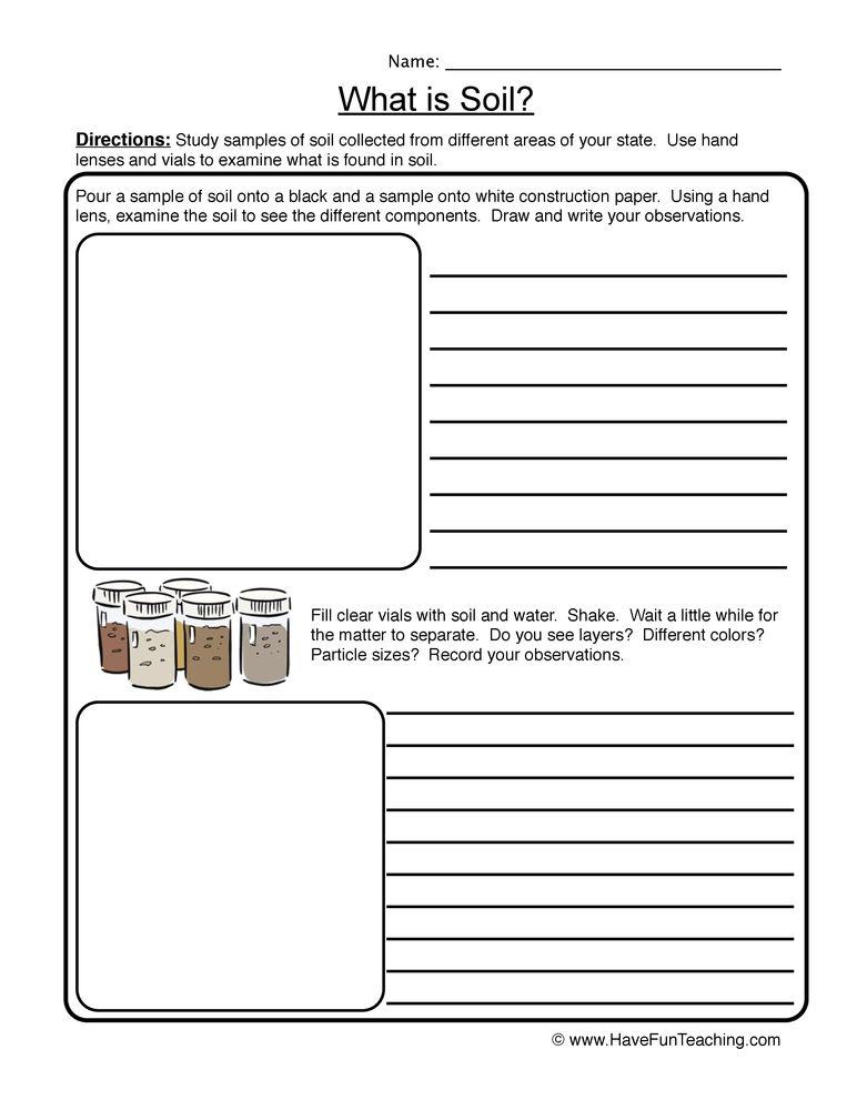 Soil Worksheet - Kidz Activities