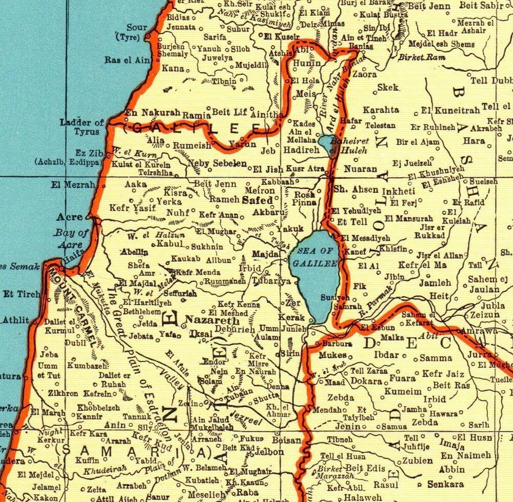 1942 Antique PALESTINE Map Jerusalem Map Vintage Gallery Wall Art ...