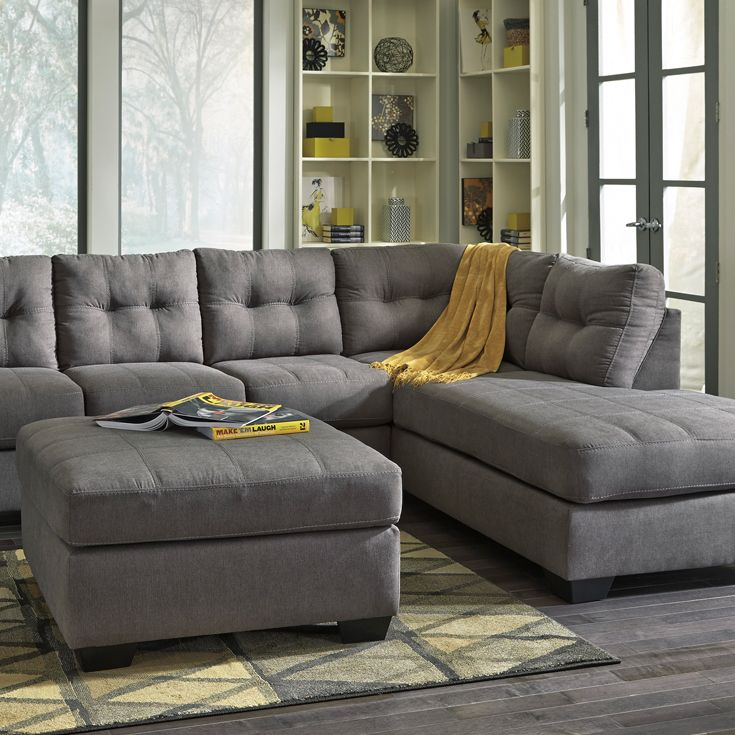 Chaise Sectional Biscuit Tufted Top Stitch Detailing