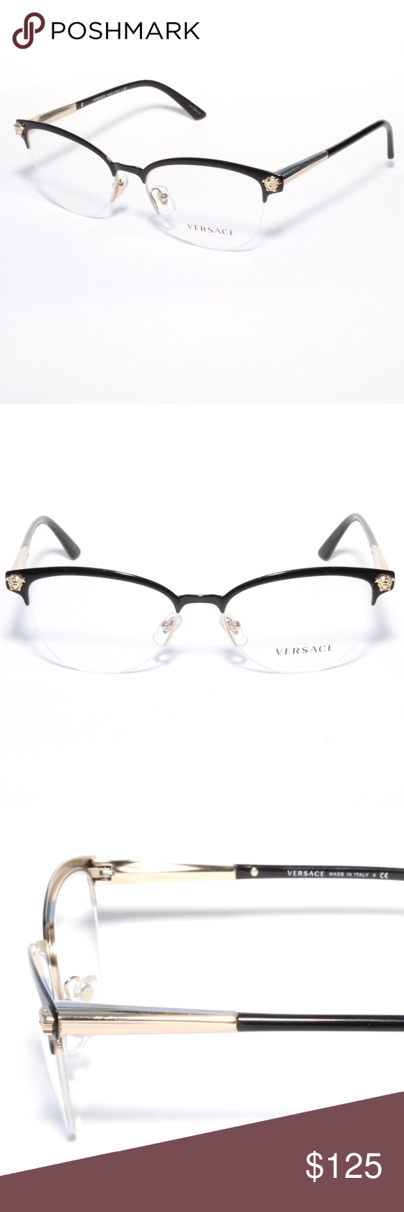 68807a1ce9e6 Versace Eyeglasses 1235 1371 53/17 Black/ PaleGold Brand new 100% authentic Versace  Eyeglasses 1235 1371 53/17 Black/ Pale Gold Comes with Generic Case, ...