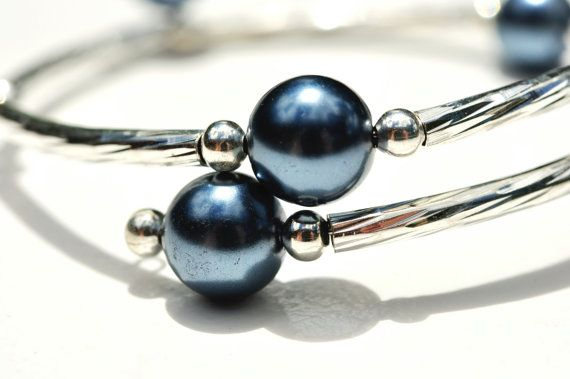 Triangle midnight blue glass pearls with by OneOfMineBeadDee, $12.00