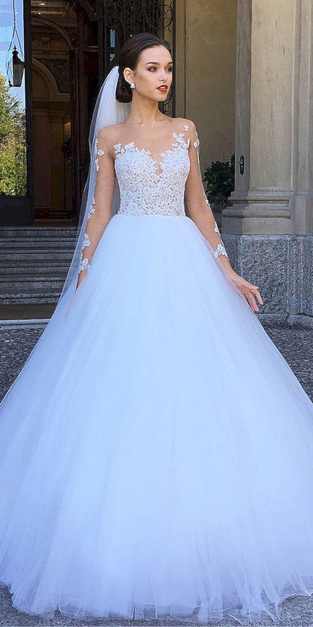 Gloomy 23 Comfortable Long Sleeve Ball Gown Wedding Dress