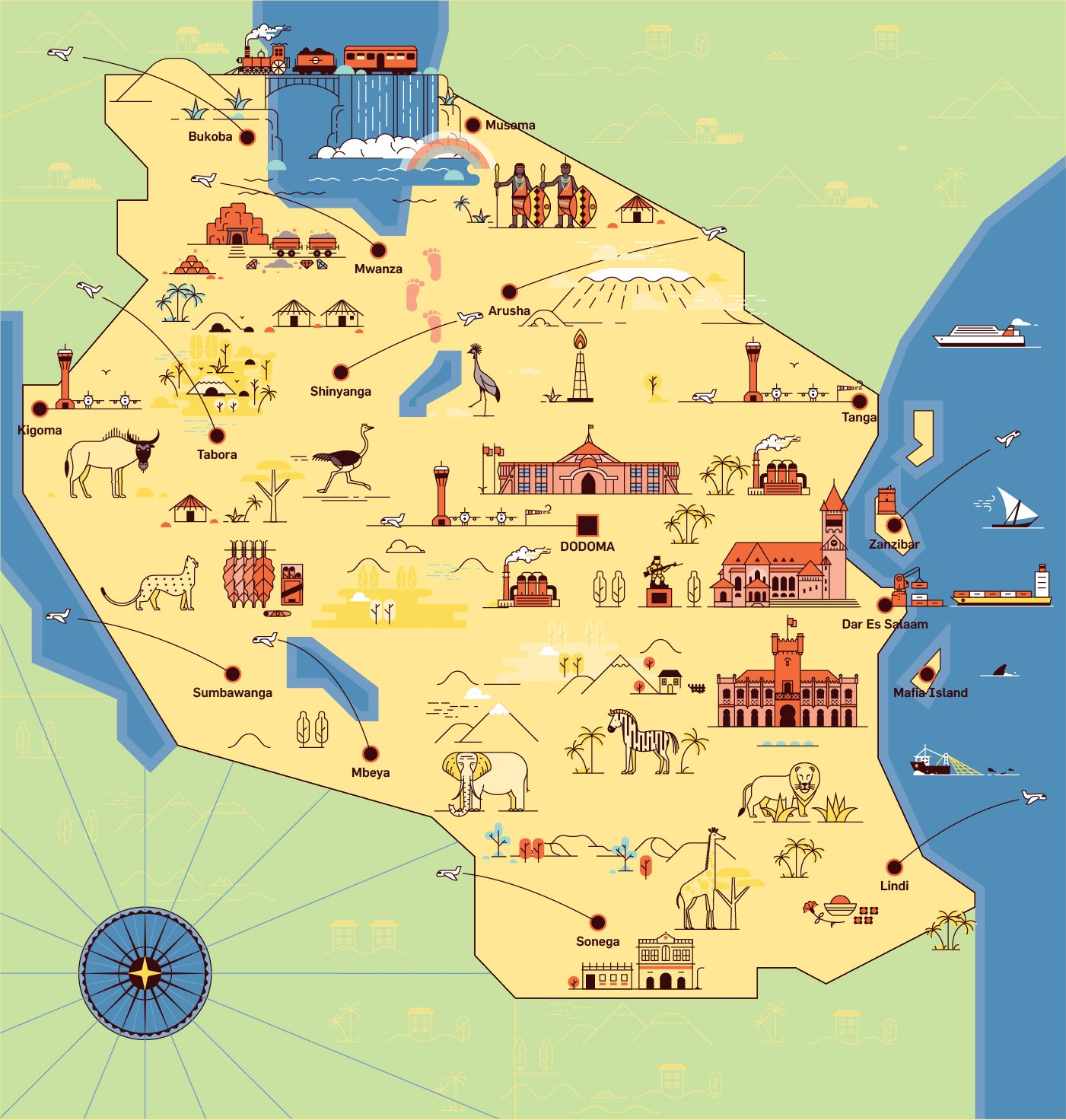 Flat Design Tanzania Map Illustration