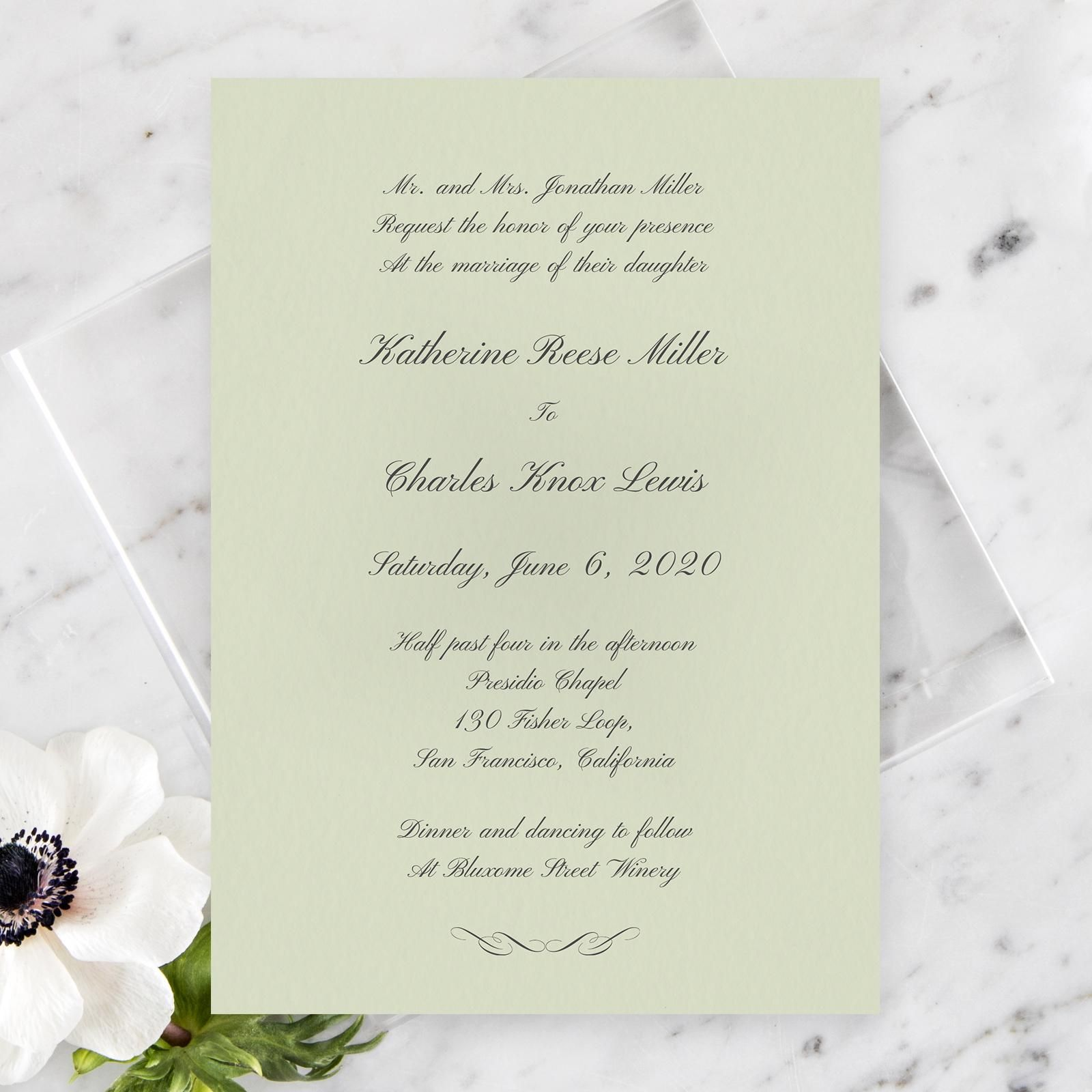 Wedding Invitation Brown Rounded Abbey Classic Zola Blue