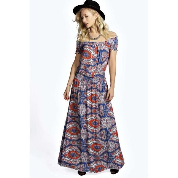 Boohoo Delilah 70's Paisley Off Shoulder Maxi Dress ($16) ❤ liked on Polyvore