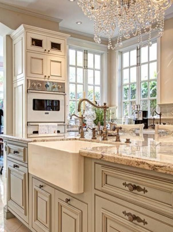 Undermount Farmhouse Sink Chandelier In The Kitchen Farmhouse Sink And  White Windows And Ivory Cabinets .