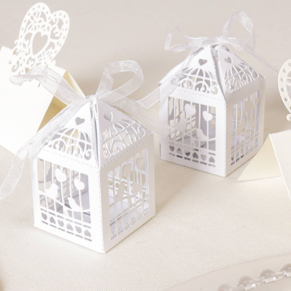 Pack Of 10 White Birdcage Favour Boxes | Favors