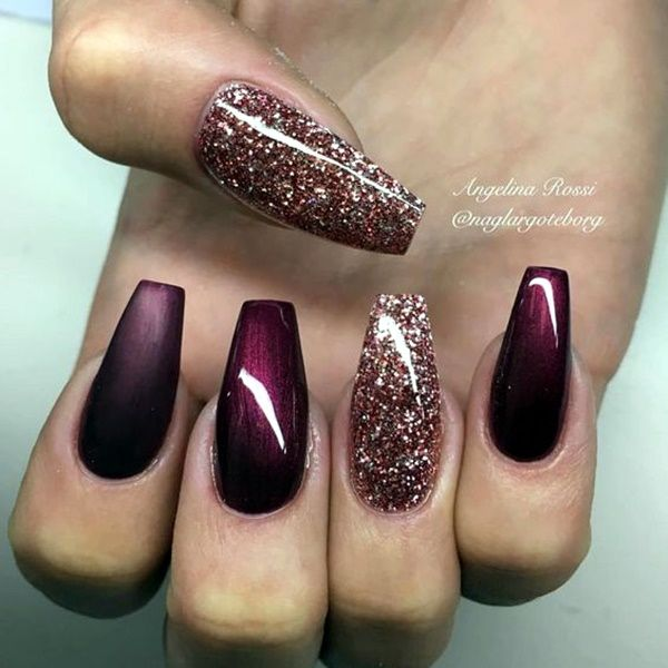 Burgundy Coffin Nails With Designs