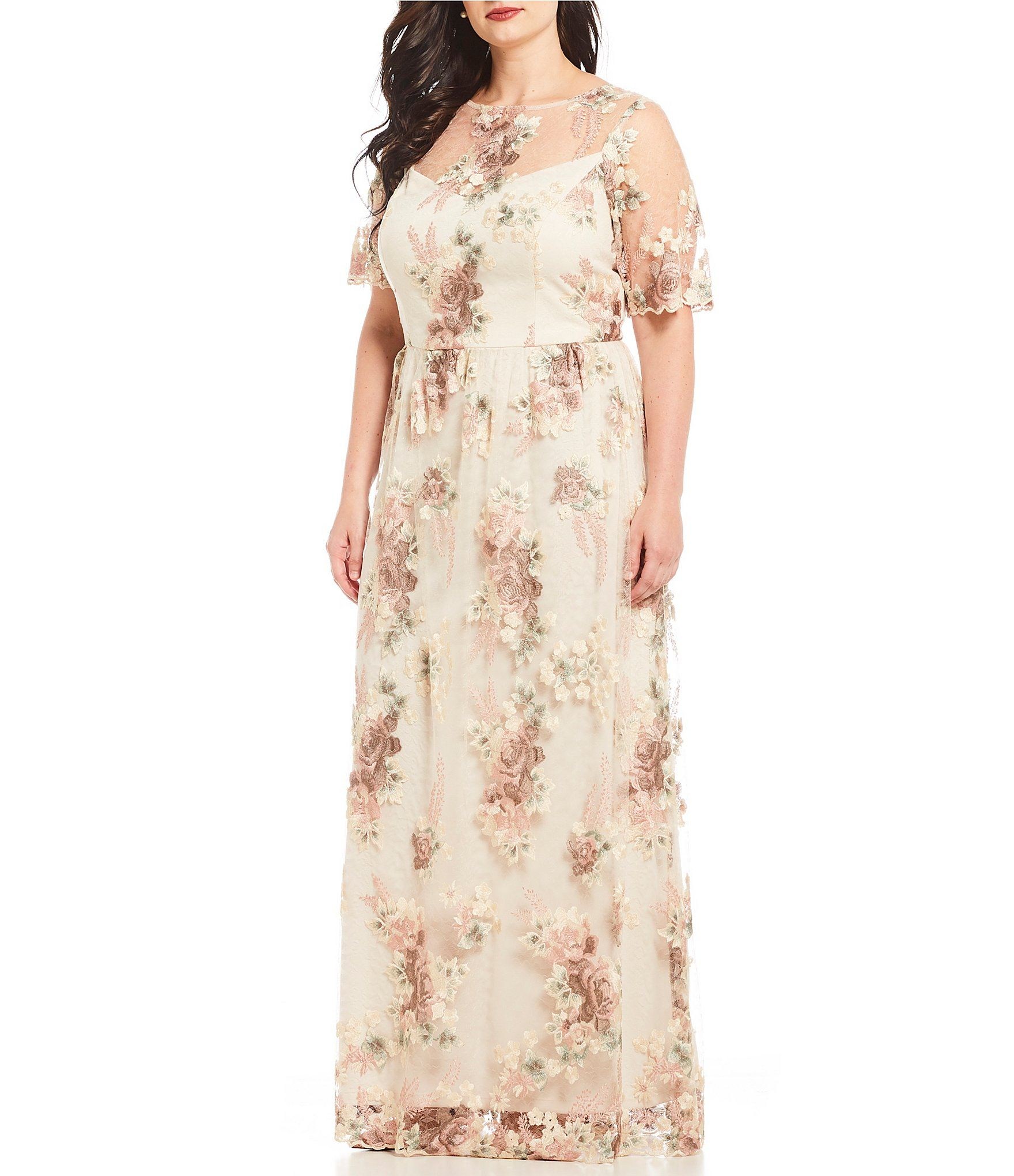 Adrianna Papell Plus Size Floral Embroidered Long Gown in 2019 ...