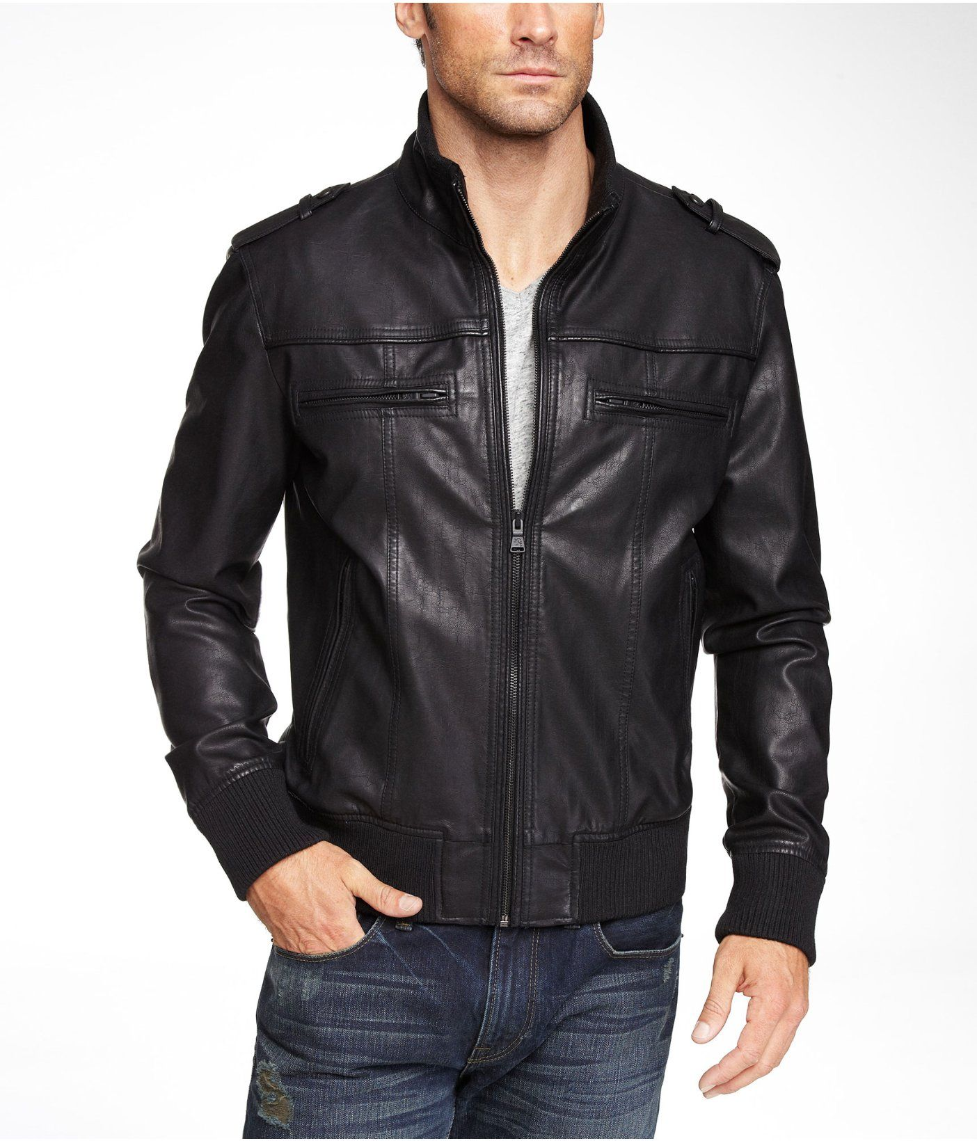 Minus The Leather Knit Trim Bomber Jacket Express Express Outfits Gentlemen Wear Mens Outfits [ 1640 x 1404 Pixel ]