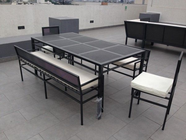 Comedor rectangular terraza 2 sillas fierro (banquetas fierro ...