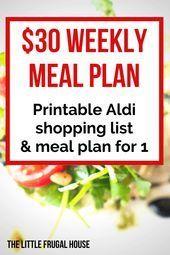 30 Weekly Meal Plan  Free Printable Aldi Shopping List  Menu An easy way to save moneyon food This 30 weekly meal plan includes a free Aldi grocery shopping list and menu...