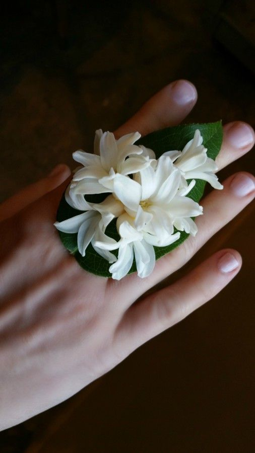 White hyacinth ring corsage ... simple beauty. For more examples, see StyleBlueprint.com