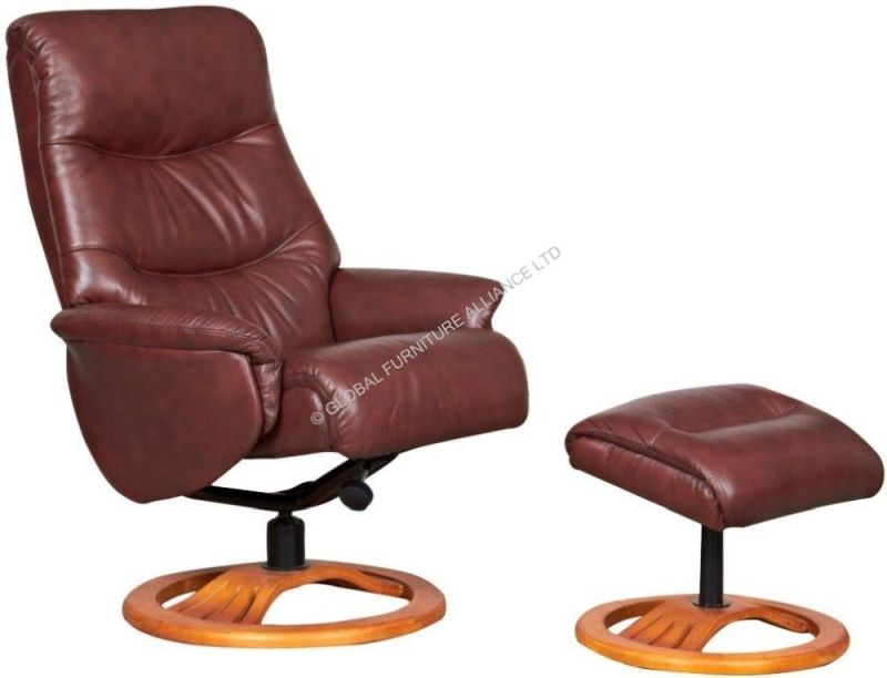 gfa toulouse chestnut leather recliner chair living room 2