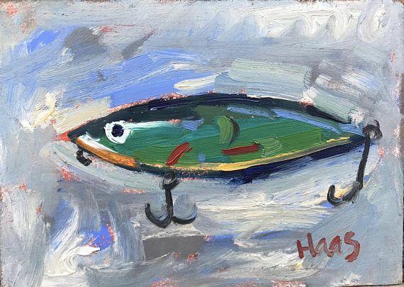 Fishing Lure Gifts For Fisherman Fishermen Fish Fine Art Gifts For Men Original Oil Painting Impressionism Gifts For Dad For Him Painting Art Artwork