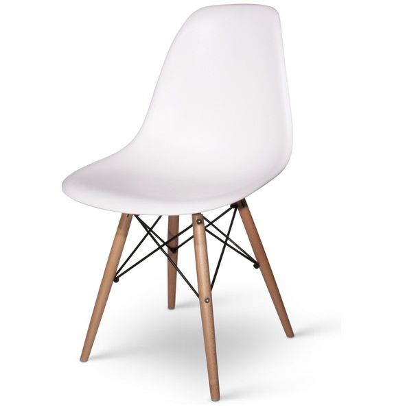 Wooden Leg Chair White For Dining Room