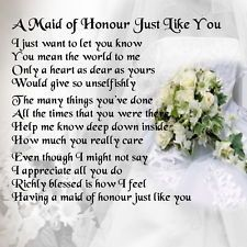 Personalised Coaster Maid Of Honour Poem Wedding Bouquet Free Gift Box