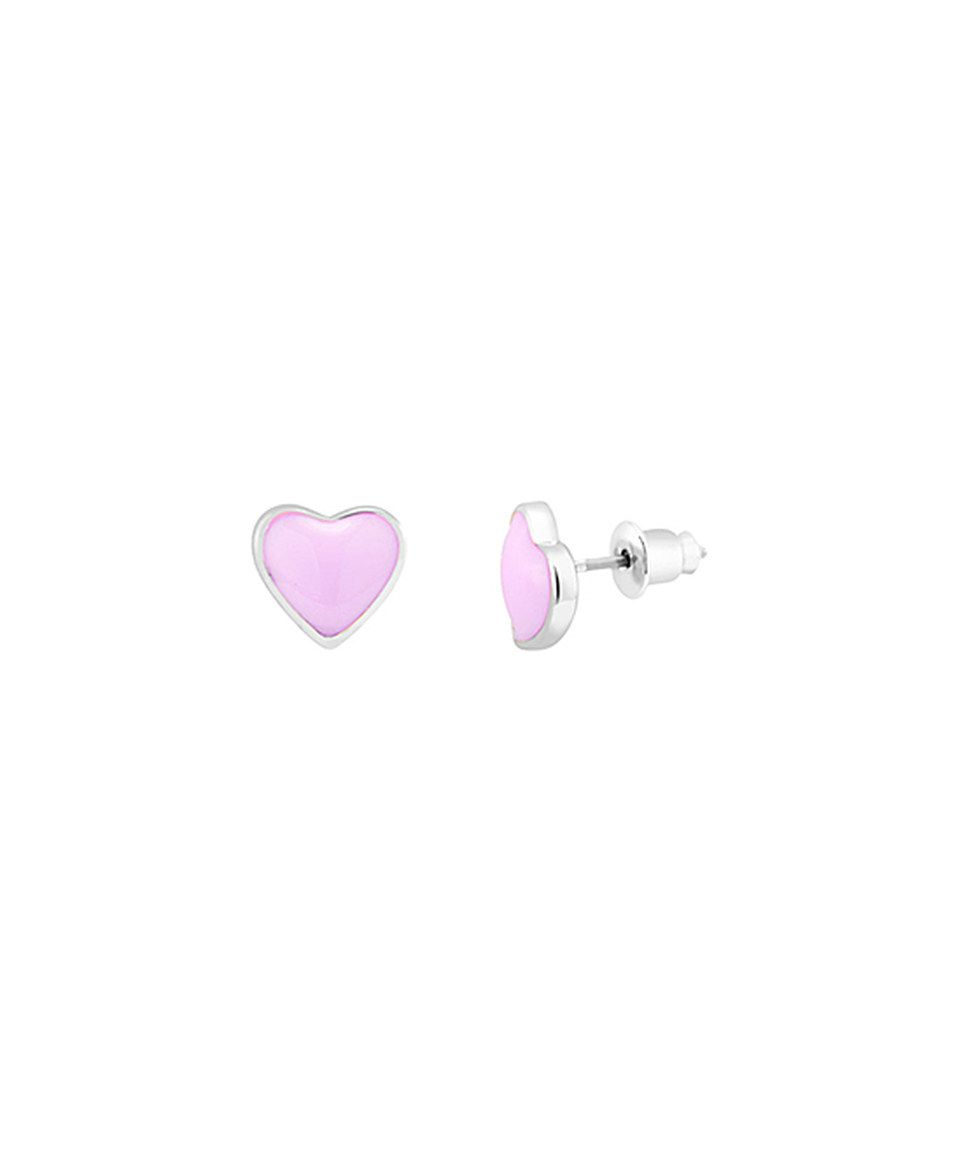 White Gold & Light Pink Heart Stud Earrings by Beverly Hills Silver #zulily