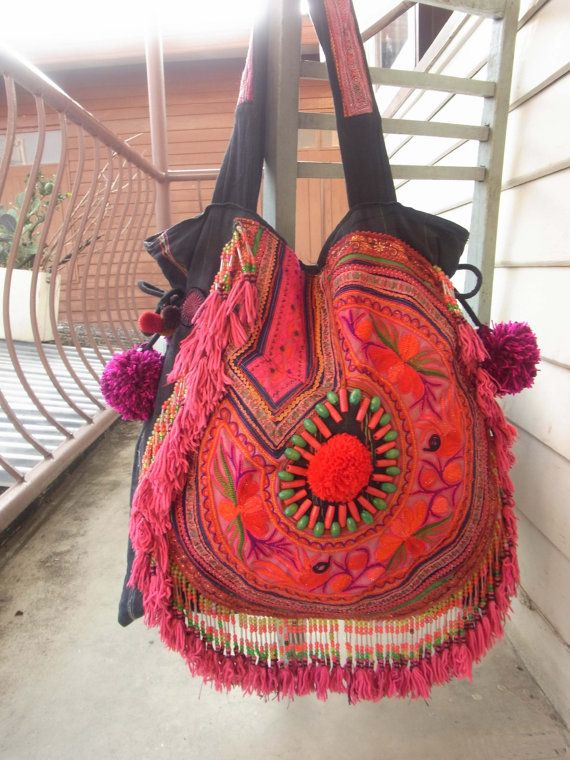 Ethnic Fringe Tote Bag with chunky pom pom /// by realmlistic, $68.00