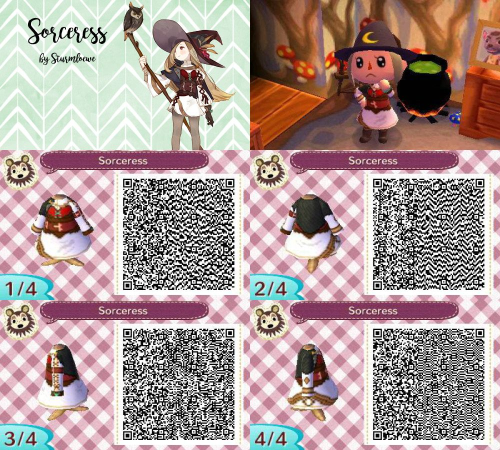 Animal Crossing New Leaf Qr Code Cute Sorceress Witch Dress Outfit