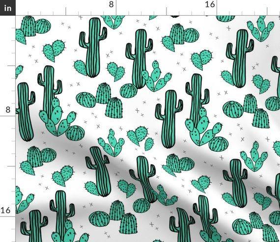 Cactus Throw Pillow - Cacti Summer by andrea_lauren - Botanical  Southwest Tropical Succulent  18