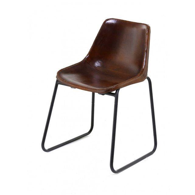 Lot De 2 Chaises En Cuir Et Metal Montecristo Zago Chaise Cuir Chaise Vintage Chaise Design