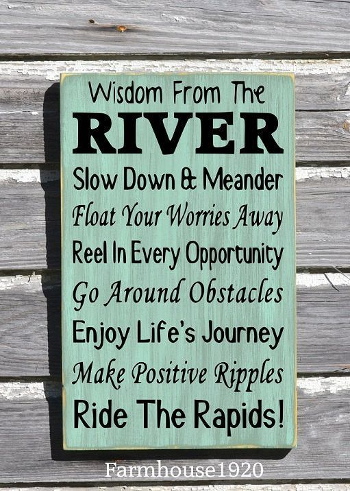 River House Decor - River Sign - Wisdom From The River Sign - Advice River Rules Wood Plaque - Lake Home Gift - Cabin Cottage Wall Hanging