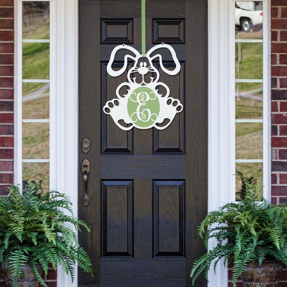 Attrayant FLOPPY: Easter Monogram Door Hanger, Front Door Wreath, Easter Bunny Door  Wreath,