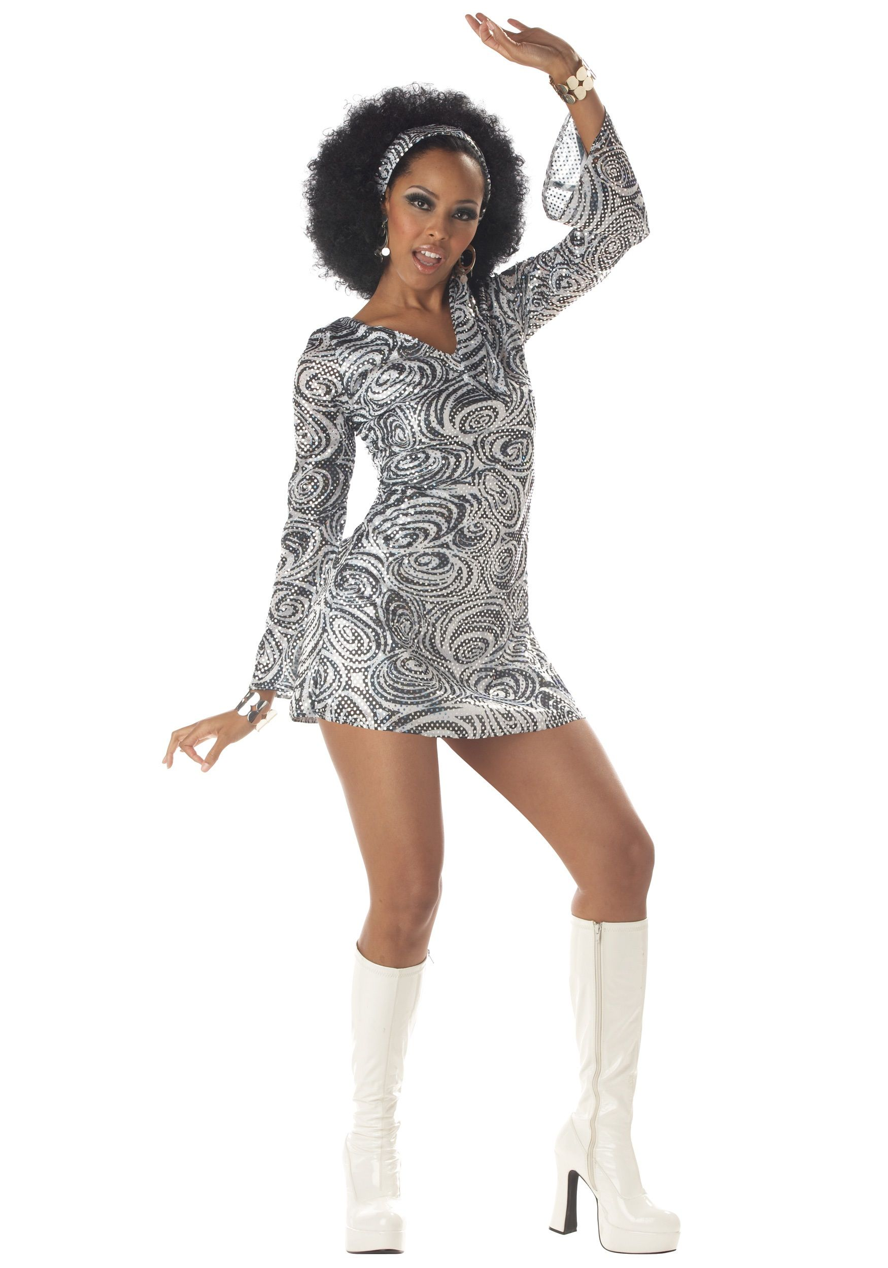 Ladies Groovy Disco Diva Jumpsuit 1970s Costume Flares 70's Fancy Dress Outfit
