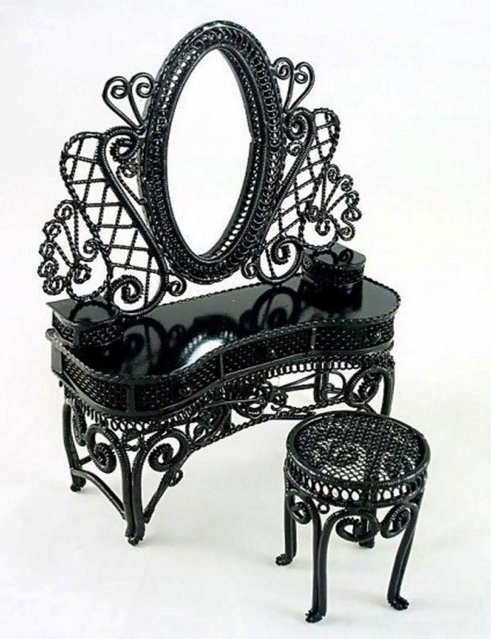 Black Bedroom Vanity | shabby Chic Room Ideas in 2019 | Dollhouse ...
