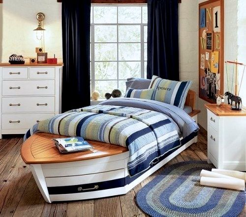Cool Shaped Beds houseboat decor ideas | boys room ideas with nautical decor and