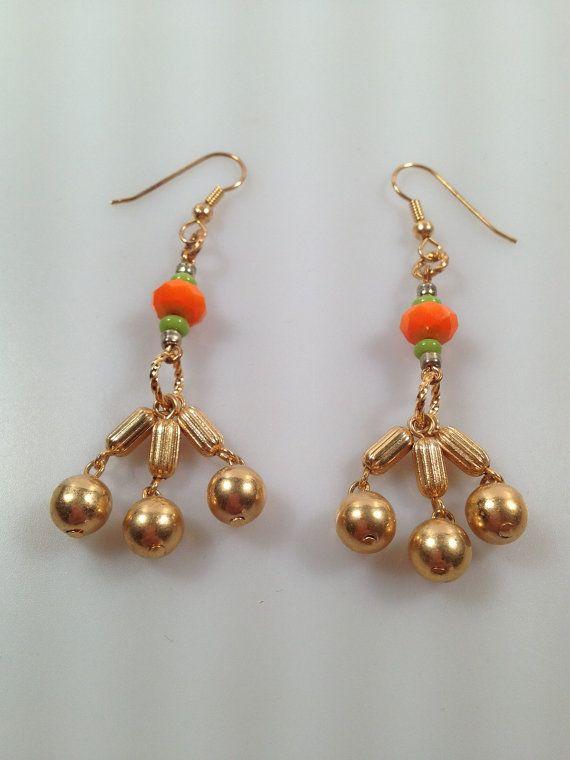 Dangle Earrings Orange and Green Glass w/ 60s by InspiredByAmber, $12.50