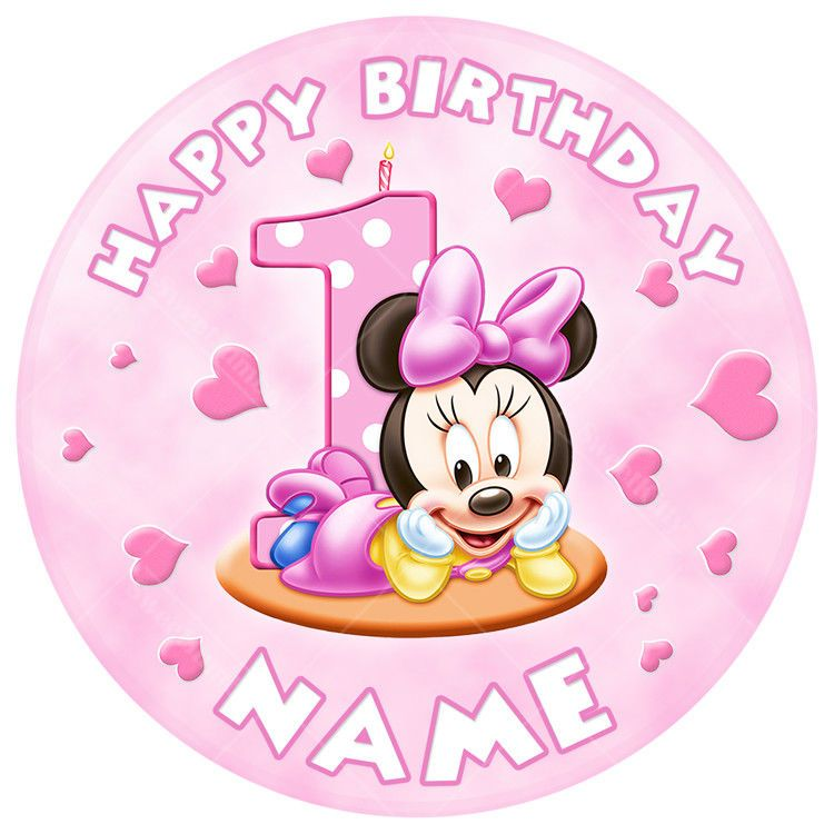 Baby Minnie Mouse 1st Birthday Cake Topper Round Edible Icing Sheet Minnie Mouse Cake Topper Baby Minnie Mouse Cake Minnie Mouse Birthday