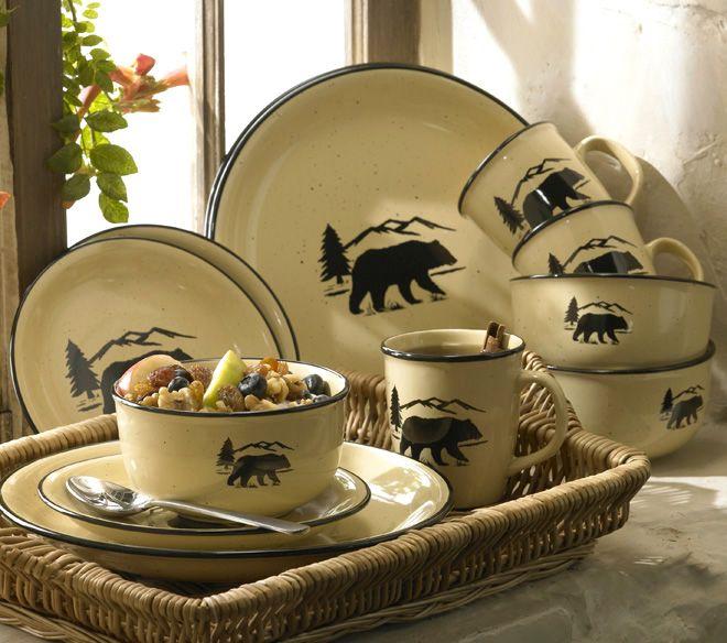 Silhouette Black Bear Dinnerware Set - 16 pcs & Silhouette Black Bear Dinnerware Set - 16 pcs | Dishes for eating ...