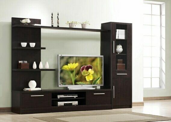 3 Pc Espresso Finish Wood Modern Styling Tv Entertainment Center Wall Unit