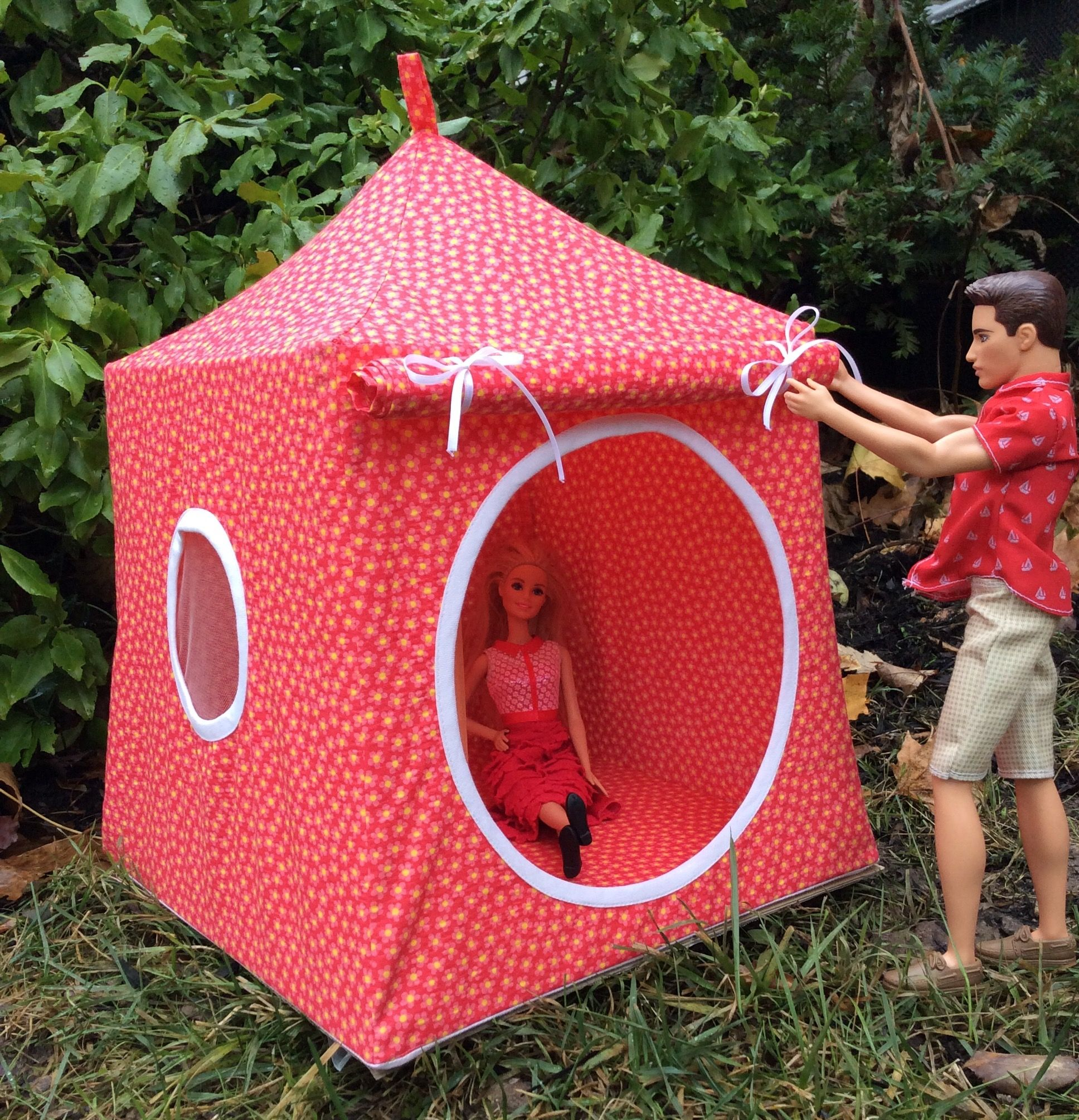 My custom made Pop up tent for Barbie and Ken. Almost