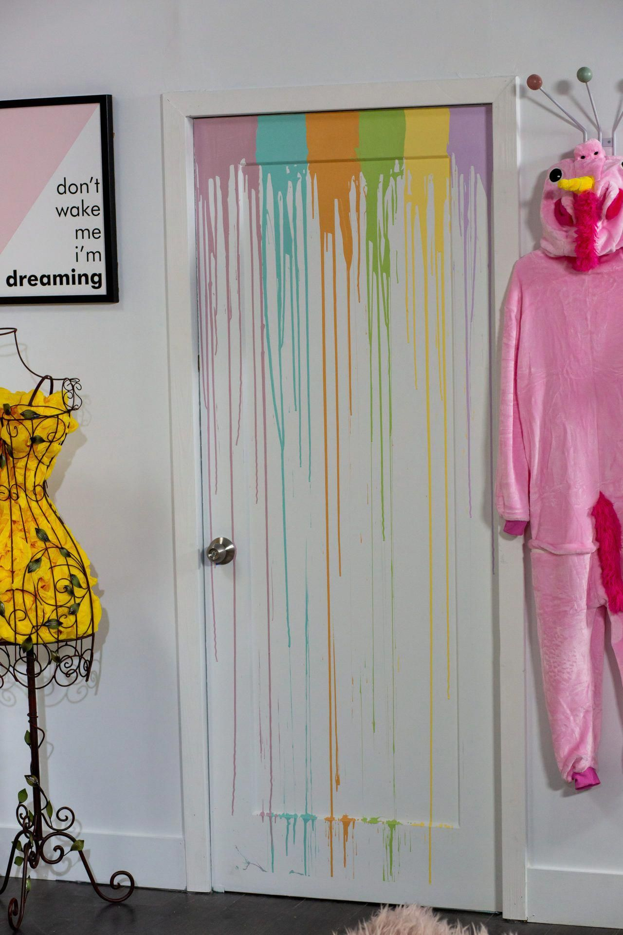I Love The Diy Detail Of This Rainbow Drip Painted Door What A Creative Way To Add Some Interest To Painted Bedroom Doors Kids Room Design Bedroom Door Design