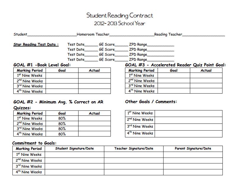 Student Reading Contract 12-13 pdf - Google Drive | hera 1 | Student