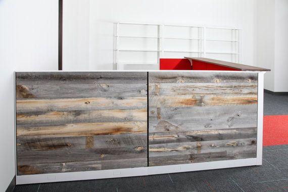 Reclaimed wood reception desk welcome desk front desk retail