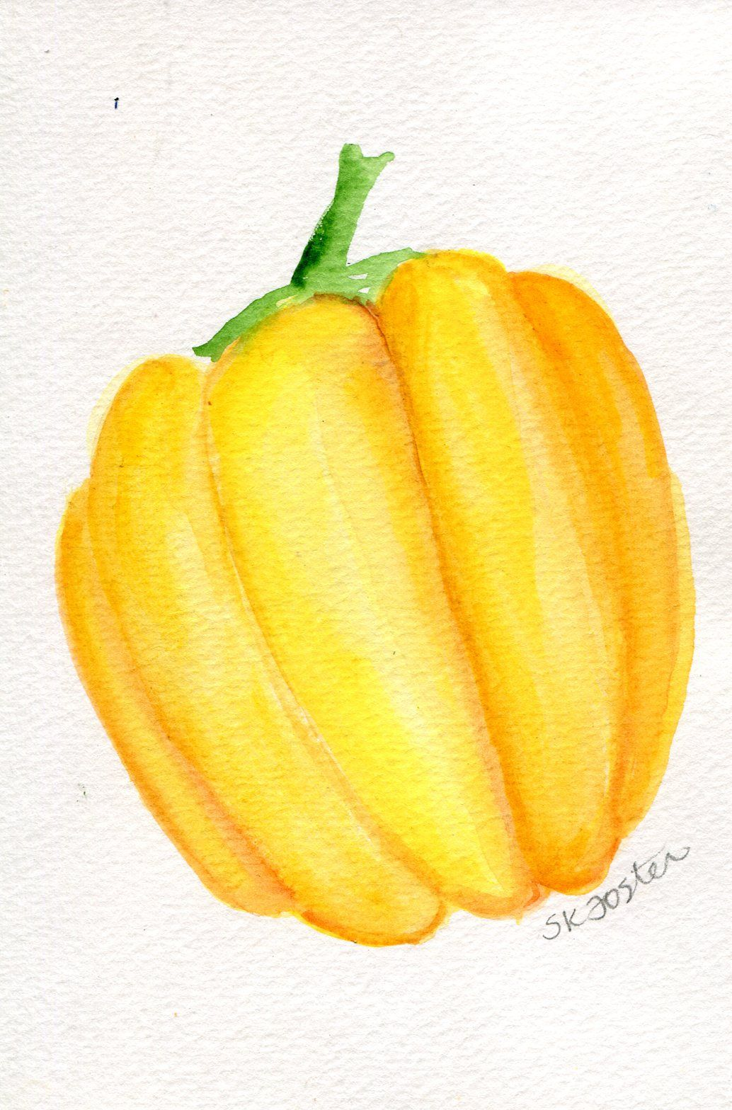 Yellow Bell Pepper Watercolors Paintings Original, Small Vegetable ...