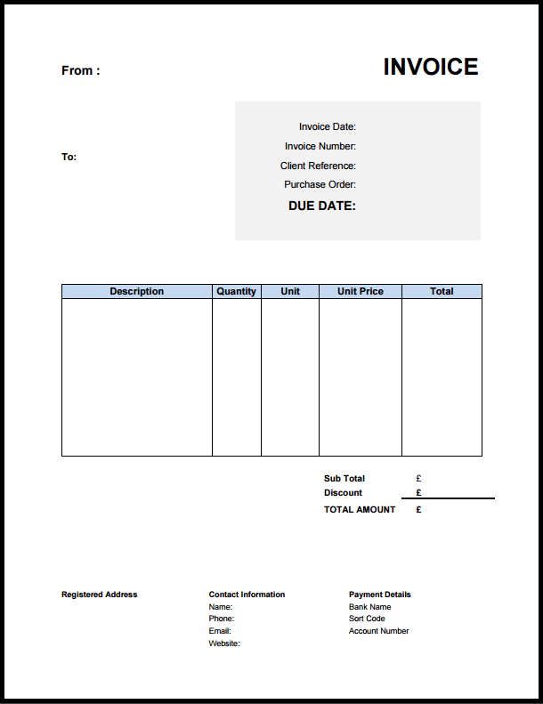 Resultat De Recherche D Images Pour Template Invoice Uk Invoice Template Free Invoice Template Free Invoice