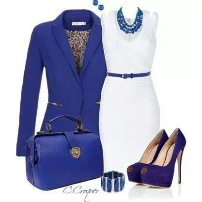 Royal Blue Blazer Purse And White Dress I May Pair With