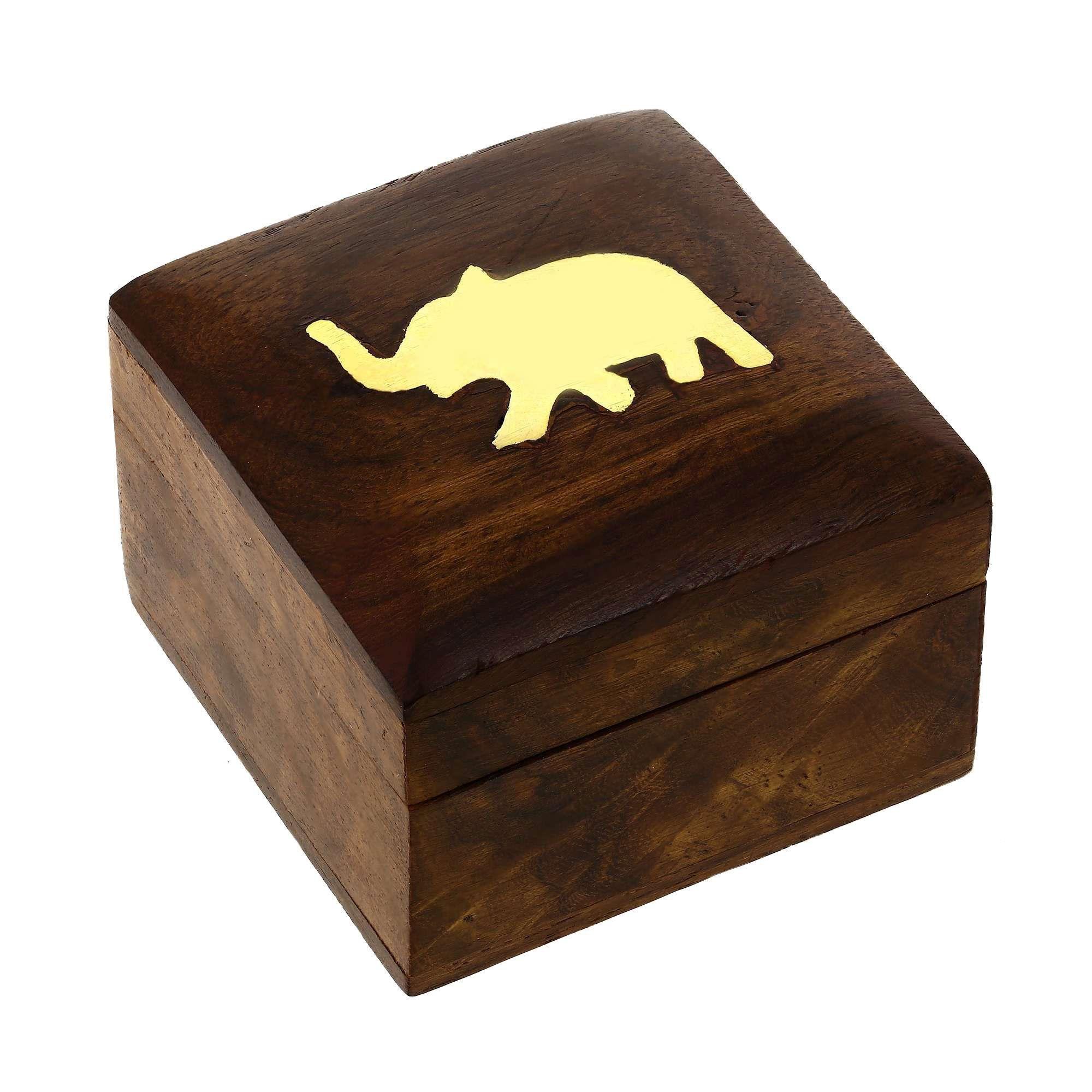 Jewellery Box Wooden Square Mango With Brass Elephant Jewelry