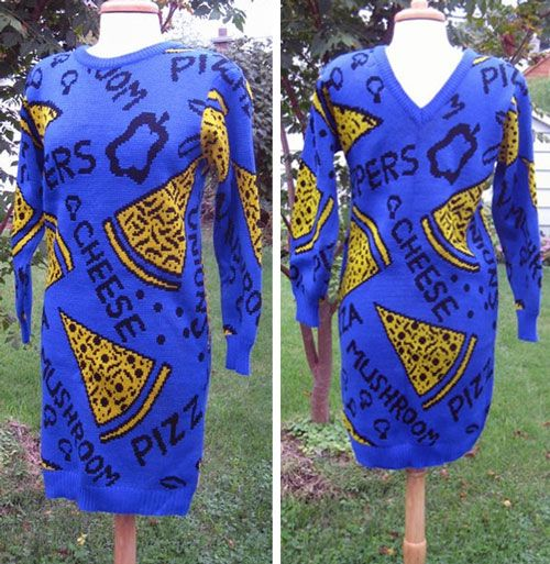 Pizza on Etsy: Ridiculous 1980s Deadstock Pizza-Themed Sweater Dress